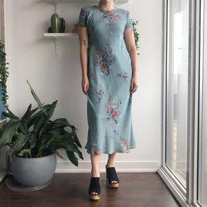 2/25 🍉 teal chiffon floral maxi dress